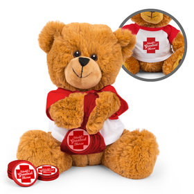Personalized Red Cross Nurse Appreciation Teddy Bear with Chocolate Coins in XS Organza Bag