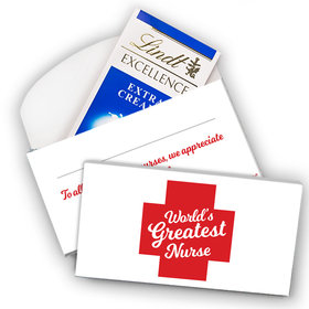 Deluxe Personalized Nurse Appreciation Lindt Chocolate Bar in Gift Box- Red Cross