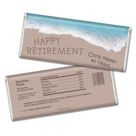 Retirement Personalized Chocolate Bar Message in Sand by Sea