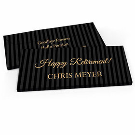 Deluxe Personalized Pinstripe Retirement Candy Bar Favor Box