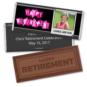 "Retirement Personalized Embossed Happy Retirement Chocolate Bar ""Happy Retirement"" Polaroid Photo"