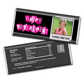"Retirement Personalized Chocolate Bar ""Happy Retirement"" Polaroid Photo"