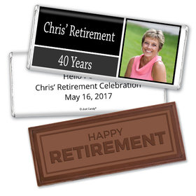 Retirement Personalized Embossed Happy Retirement Chocolate Bar Photo Colorblock