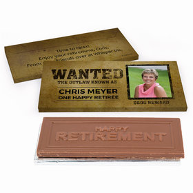 Deluxe Personalized Wanted Retirement Chocolate Bar in Gift Box
