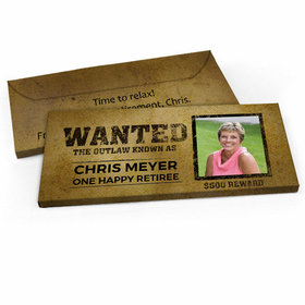 Deluxe Personalized Wanted Retirement Candy Bar Favor Box