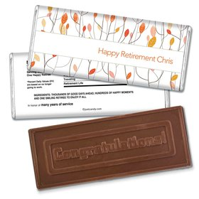 Retirement Personalized Embossed Chocolate Bar Watercolor Leaves