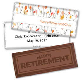 Retirement Personalized Embossed Happy Retirement Chocolate Bar Watercolor Leaves