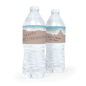 Personalized Retirement Message by the Sea Water Bottle Sticker Labels (5 Labels)