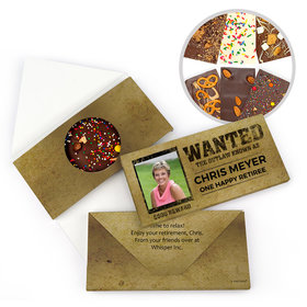 Personalized Wanted Retirement Gourmet Infused Belgian Chocolate Bars (3.5oz)