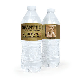 Personalized Retirement Wanted Water Bottle Sticker Labels (5 Labels)