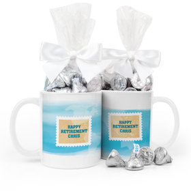 Personalized Retirement Stamps 11oz Mug with Hershey's Kisses