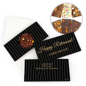 Personalized Pinstripe Retirement Gourmet Infused Belgian Chocolate Bars (3.5oz)