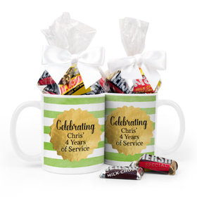 Personalized Retirement Gold Badge 11oz Mug with Hershey's Miniatures