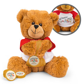 Personalized Passport Retirement Teddy Bear with Chocolate Coins in XS Organza Bag
