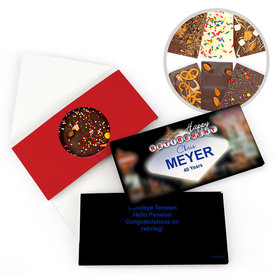 Personalized Vegas Retirement Gourmet Infused Belgian Chocolate Bars (3.5oz)