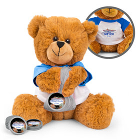 Personalized Vegas Retirement Teddy Bear with Chocolate Coins in XS Organza Bag