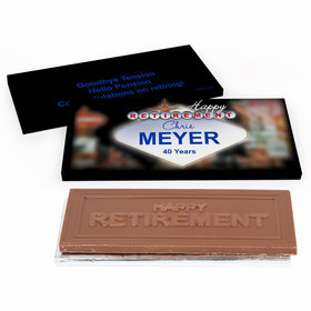Deluxe Personalized Retirement Vegas Chocolate Bar in Gift Box