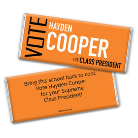 School Election Campaign Personalized Chocolate Bar Vote in Text