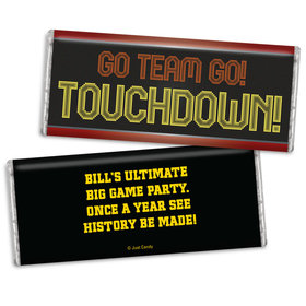 Personalized Super Bowl Themed Go Team Chocolate Bar Wrappers