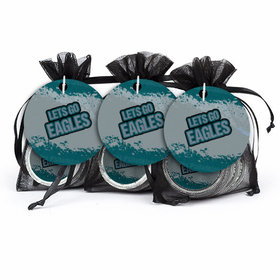 Super Bowl Themed Let's Go Eagles Chocolate Coins & Stickers in XS Organza Bags with Gift Tag