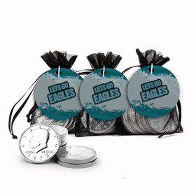 Super Bowl Themed Let's Go Eagles Chocolate Coins in XS Organza Bags with Gift Tag
