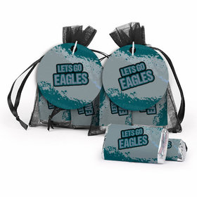 Super Bowl Themed Let's Go Eagles Hershey's Miniatures in XS Organza Bags with Gift Tag