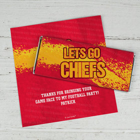 Personalized Chiefs Football Party Chocolate Bar Wrappers Only