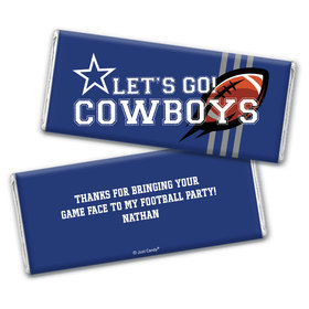 Personalized Cowboys Football Party Chocolate Bar Wrappers Only