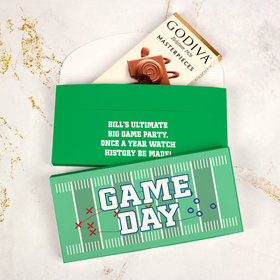 Deluxe Personalized Big Game Football Field Godiva Chocolate Bar in Gift Box