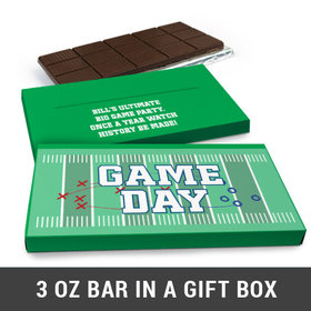 Deluxe Personalized Football Field Super Bowl Themed Chocolate Bar in Gift Box (3oz Bar)