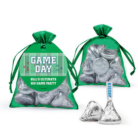 Personalized Gameday Football Field Hershey's Kisses in Organza Bags with Gift Tag
