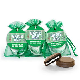 Super Bowl Themed Football Field Chocolate Covered Oreo Cookies in Organza Bags with Gift tag