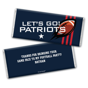 Personalized Patriots Football Party Chocolate Bar Wrappers Only