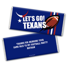 Personalized Texans Football Party Hershey's Chocolate Bar & Wrapper