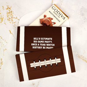 Deluxe Personalized Big Game Football Godiva Chocolate Bar in Gift Box