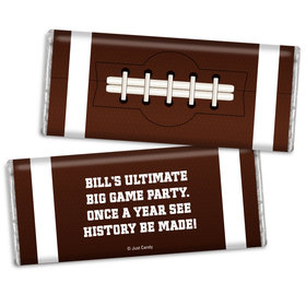 Personalized Super Bowl Themed Football Chocolate Bar Wrappers
