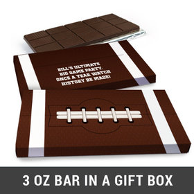 Deluxe Personalized Football Super Bowl Themed Chocolate Bar in Gift Box (3oz Bar)