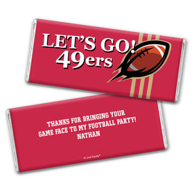 Personalized 49ers Football Party Chocolate Bar Wrappers Only