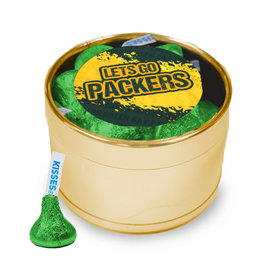 Let's Go Packers Medium Gold Plastic Tin - 30 Green Hershey's Kisses