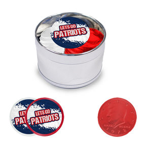 Let's Go Patriots Milk Chocolate Coins in Medium Silver Plastic Tin (24 Coins with Stickers)