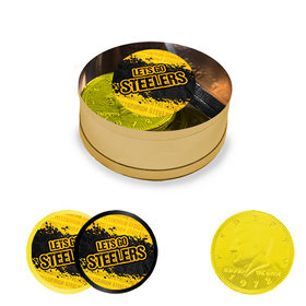 Let's Go Steelers Milk Chocolate Coins in Small Gold Plastic Tin (8 Coins with Stickers)