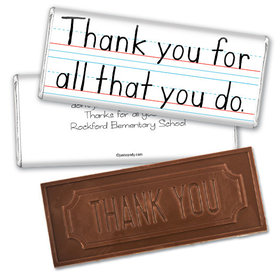 Handwritten Appreciation Thank you Embossed Chocolate Bar