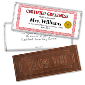 Certificate of Gratitude Thank you Embossed Chocolate Bar