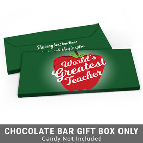 Deluxe Personalized World's Greatest Teacher Appreciation Candy Bar Favor Box