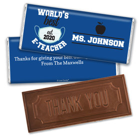 Personalized Teacher Appreciation Best E-Teacher Embossed Chocolate Bars