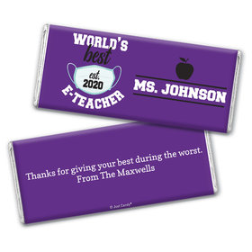 Personalized Teacher Appreciation Best E-Teacher Chocolate Bar Wrappers Only