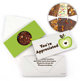 Personalized One Cool Apple Teacher Appreciation Gourmet Infused Belgian Chocolate Bars (3.5oz)