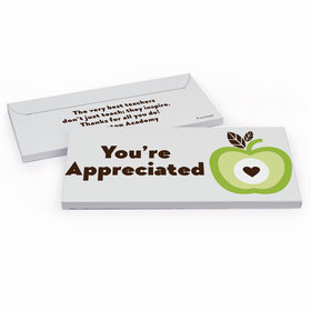 Deluxe Personalized One Cool Apple Teacher Appreciation Chocolate Bar in Gift Box
