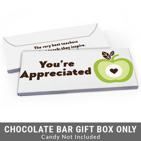 Deluxe Personalized One Cool Apple Teacher Appreciation Candy Bar Favor Box