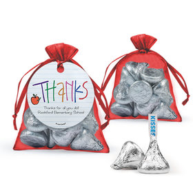 Personalized Teacher Appreciation Doodle Hershey's Kisses in Organza Bags with Gift Tag